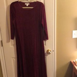 Velvet burgundy cold water creek dress